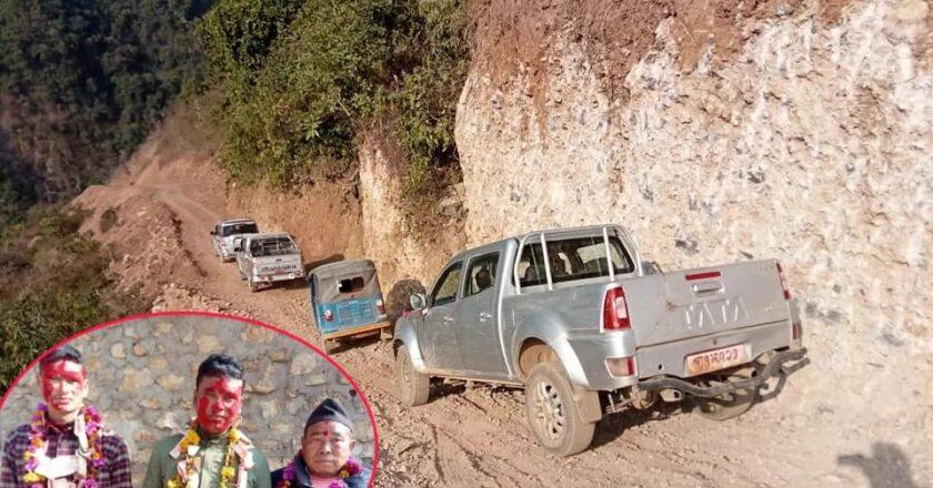 घोराही ११ को चाँचलामा पुग्यो पहिलो पटक गाडी, चालकलाई पैसाको माला